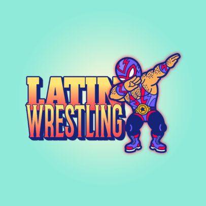 Logo Template Featuring a Masked Wrestler Cartoon 3529u