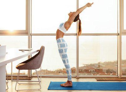 Sports Bra and Leggings Mockup of a Slim Woman Practicing Yoga at Home 35269-r-el2