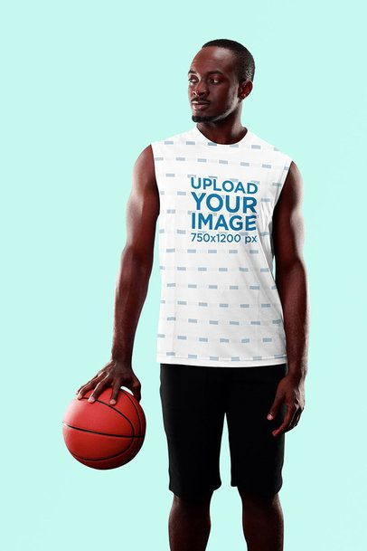 Sublimated Tank Top Mockup of a Man Holding a Basketball Ball 38966-r-el2