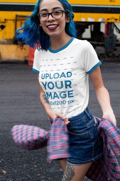 Ringer T-Shirt Mockup of a Young Woman Having Fun 16997a
