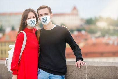 Mockup of a Couple Wearing Face Masks 39905-r-el2