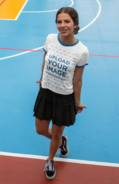 Mockup of a Teenage Girl Wearing a Ringer Tee at a Court 17059a