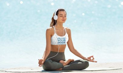 Sports Bra Mockup of a Happy Woman Doing Outdoor Guided Meditation  36432-r-el2