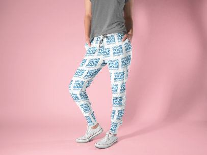 Sweatpants Mockup of a Woman Posing at a Studio 15592
