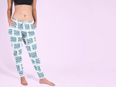 Sweatpants Mockup Featuring a Woman Standing in a Studio 15591a