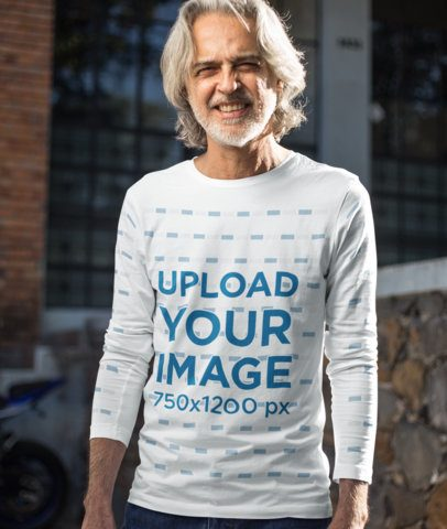 Long Sleeve Tee Mockup of a Smiling Elderly Man with a Beard 12246-