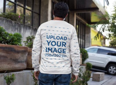 Mockup of the Back of a Senior Man Wearing a Sweatshirt with Sleeve-Print 11306a