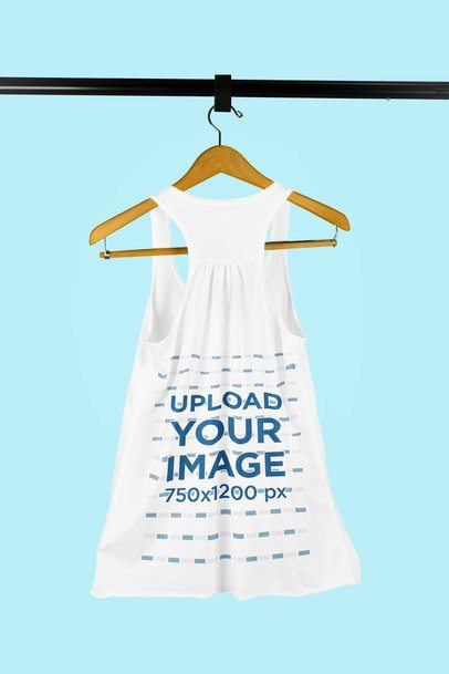 Mockup of a Slouchy Tank Top on a Wooden Hanger 9159