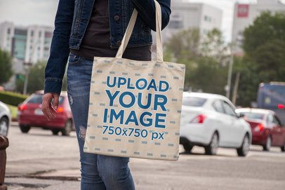 Tote Bag Mockup Featuring a Woman on the Street 11496a