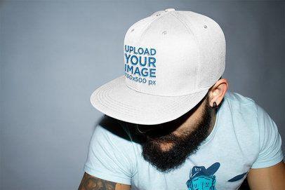 Mockup of a Bearded Man Wearing a Snapback Hat 11843
