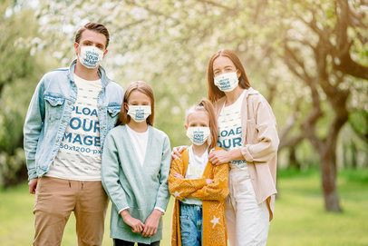 T-Shirt Mockup of a Family of Four Wearing Face Masks 39911-r-el2