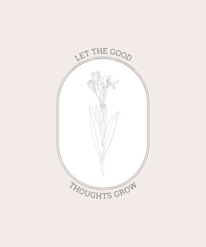 T-Shirt Design Template with a Classy Flower and Quote 2494b-el1