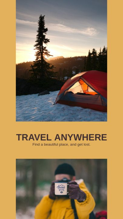 Travel-Themed Instagram Story Template Featuring a Two-Photo Grid 2485b-el1