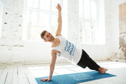 Yoga Mat and Tank Top Mockup of a Bearded Young Man 36049-r-el2