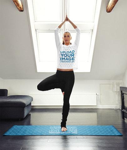 Long Sleeve Tee Mockup Featuring a Woman Doing Yoga on a Mat 35238-r-el2