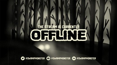Monochromatic Twitch Offline Banner Design Template for Horror Streaming Channels 2796e