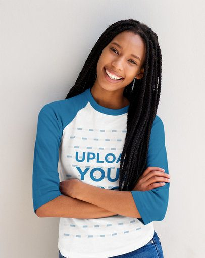 Mockup of a Smiling Woman with Locks Wearing a Raglan Tee 40213-r-el2