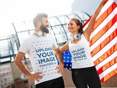 Tank Top and T-Shirt Mockup of a Couple Waving an American Flag 40603-r-el2