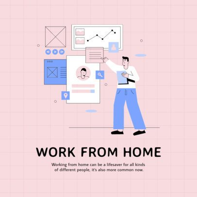 Instagram Post Creator with a Divided Grid Featuring Home Office Tips 2586a-el1