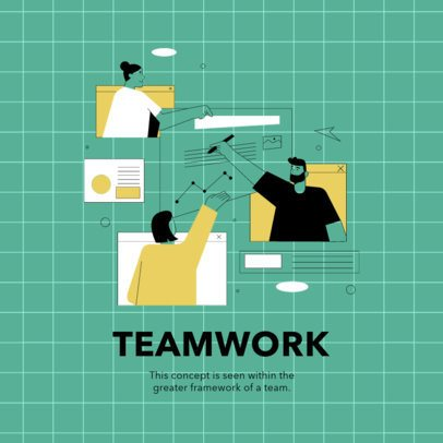 Instagram Post Template Featuring a Teamwork Illustration 2586d-el1