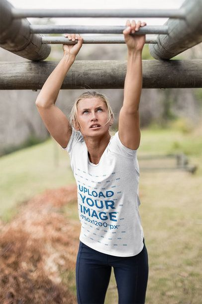 Activewear T-Shirt Mockup of a Woman at a Training Camp 40736-r-el2