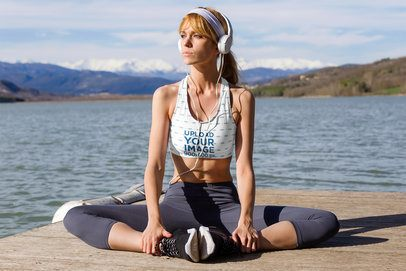 Sports Bra Mockup of a Woman Listening to Music by a Lake 34855-r-el2