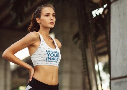 Mockup of an Athletic Woman Posing in a Sports Bra 37451-r-el2