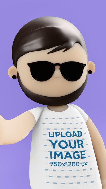 Illustrated T-Shirt Mockup Featuring a Minimalistic Cartoonish 3D Character 41146