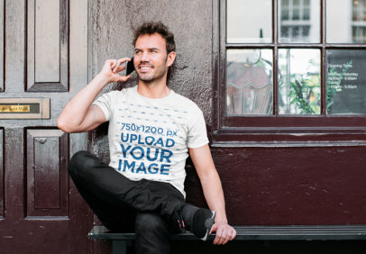 T-Shirt Mockup Featuring a Man Talking on the Phone 40116-r-el2