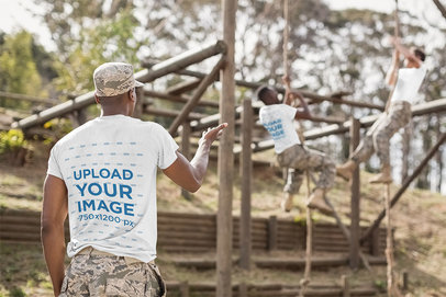 T-Shirt Mockup Featuring Two Male Recruits at an Obstacle Camp 40723-r-el2