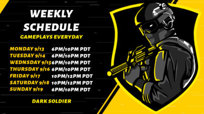 Twitch Banner Template for Gamers Featuring a Schedule and a Shooter Clipart 2811c