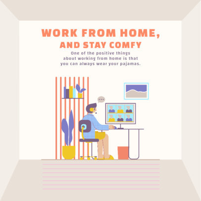Illustrated Instagram Post Design Generator Featuring a Man Working Remotely 2589e-el1