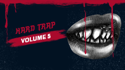 Dark YouTube Thumbnail Template Featuring a Bloody Frame with a Gangsta Lips Graphic 2819d
