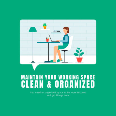 Illustrated Instagram Post Generator Featuring Home Office Advice 2591d-el1