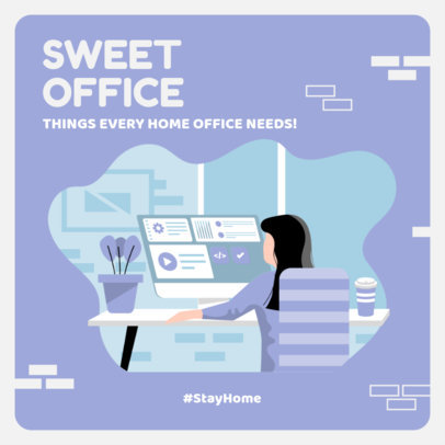 Illustrated Instagram Story Template Featuring Home Office Decor Tips 2583c-el1
