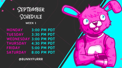 Twitch Banner Template Featuring a Weekly Schedule for Gaming Matches 2811g