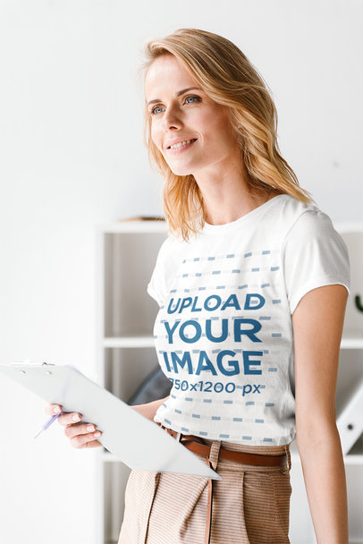 Mockup of a Middle-Aged Woman with a Simple Tee Taking Notes 35713-r-el2