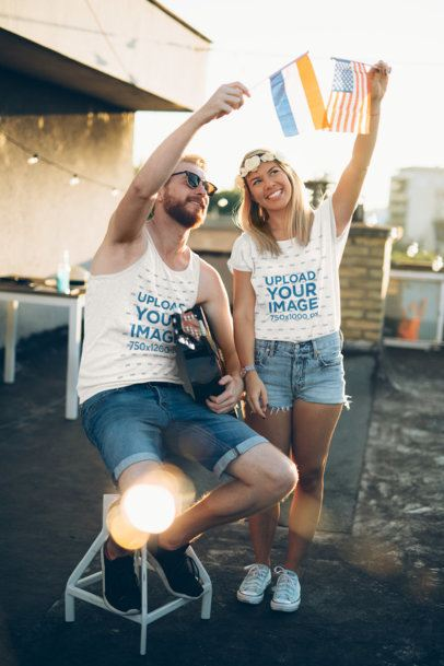 T-Shirt and Tank Top Mockup Featuring Two International Friends 40383-r-el2
