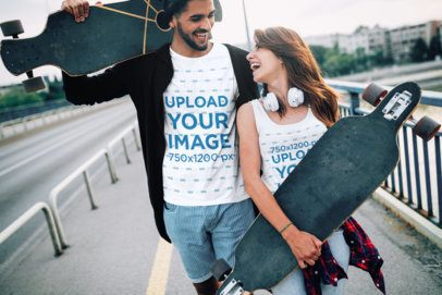 T-Shirt and Tank Top Mockup of a Skater and His Girlfriend 40369-r-el2