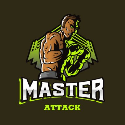 Illustrated Gaming Logo Maker Featuring a Fierce Fighter and a Boxing Ring 3586j