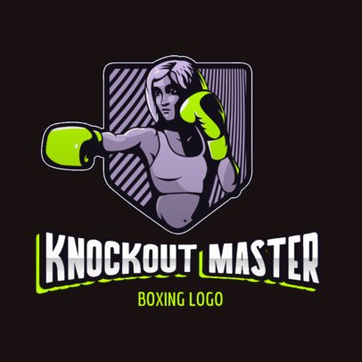 Illustrated Sports Logo Template Featuring a Female Boxer 3586j