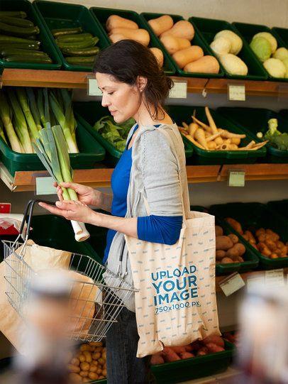 Grocery Bag Mockup of a Woman Buying Vegetables 41745-r-el2