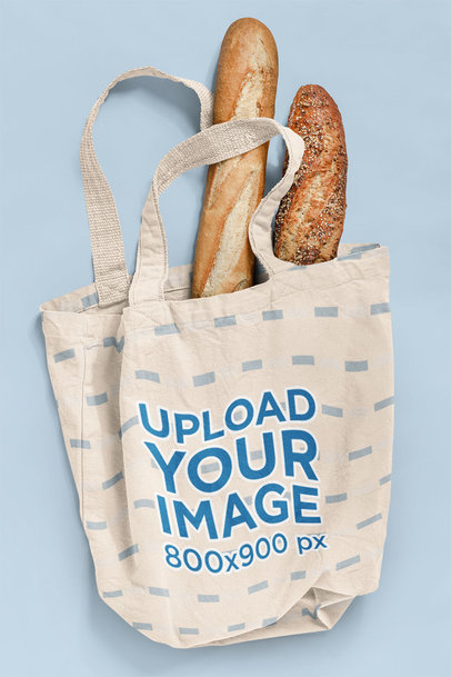 Mockup of a Grocery Bag with Two Loaves of Bread 41547-r-el2