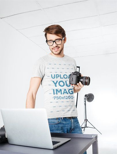 T-Shirt Mockup of a Photographer in the Studio 35721-r-el2
