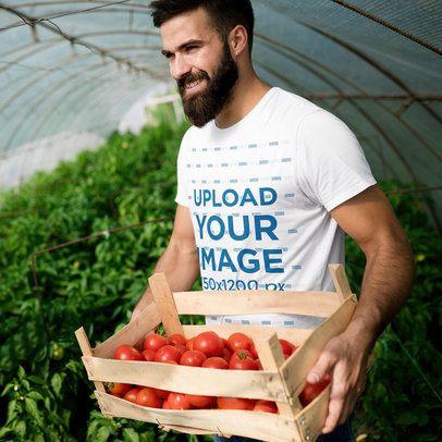 T-Shirt Mockup of a Bearded Man Harvesting Tomatoes 40626-r-el2