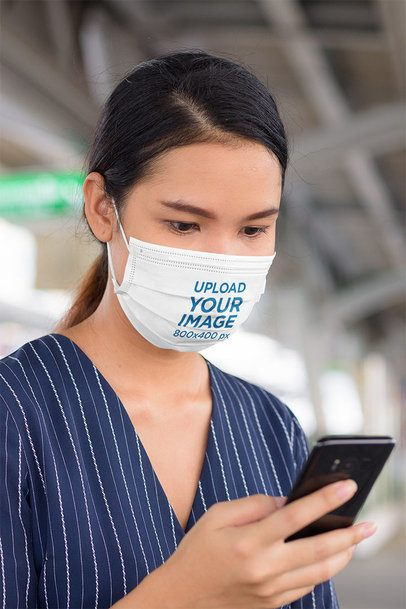 Sublimated Face Mask Mockup of a Woman Checking Her Mobile Phone 41636-r-el2
