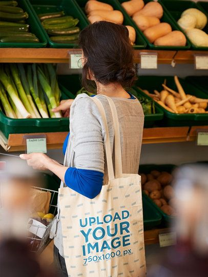 Mockup of a Woman Carrying a Grocery Bag at a Supermarket 41746-r-el2