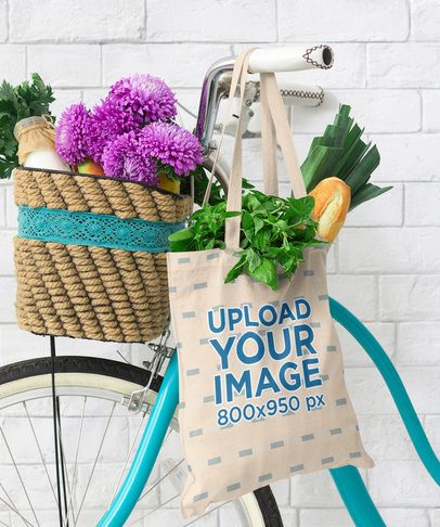 Mockup of a Grocery Bag Hanging From a Bike 41543-r-el2