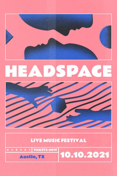 Poster Design Template for a Music Festival Featuring Surreal Abstract Illustrations 2604b
