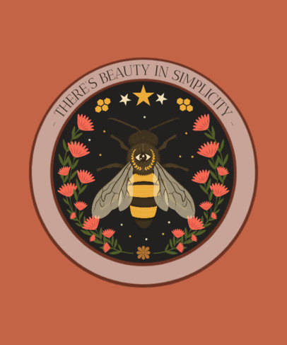Floral T-Shirt Design Template with a Bee Graphic 2841b